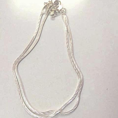 Classic Silver Look Anklet Pair