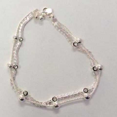 Silver Look Anklets Pair