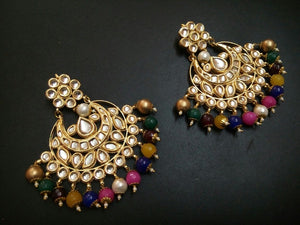 Beautiful Chandbali Earrings with Hanging Pearls