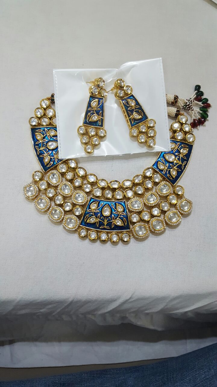 Neck covering Blue and Gold Meenkari Work Necklace Set