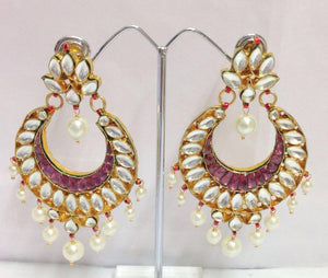 Beautiful Colorstones Kundan Earrings Pair