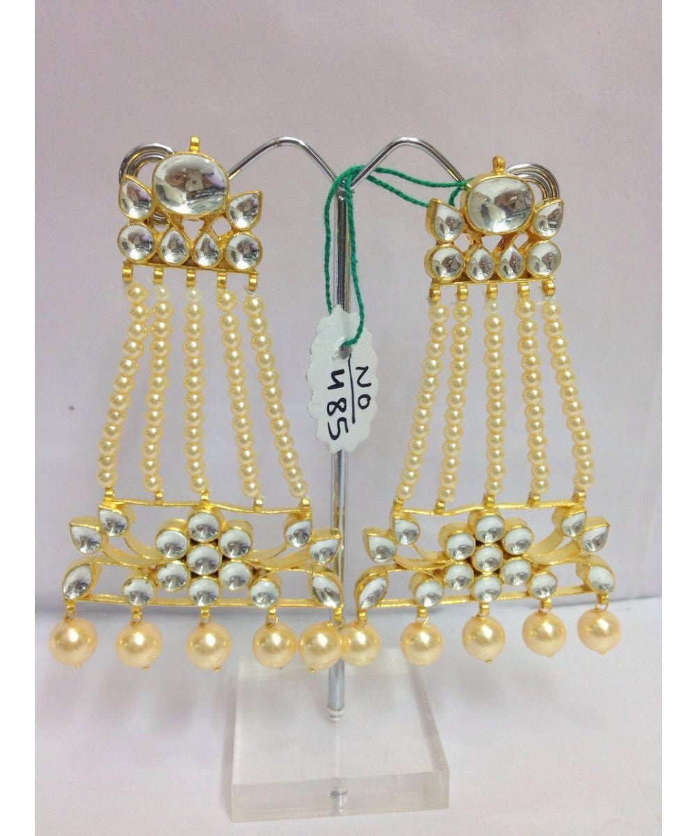 Long Hanging Gold Plated Earrings Pair
