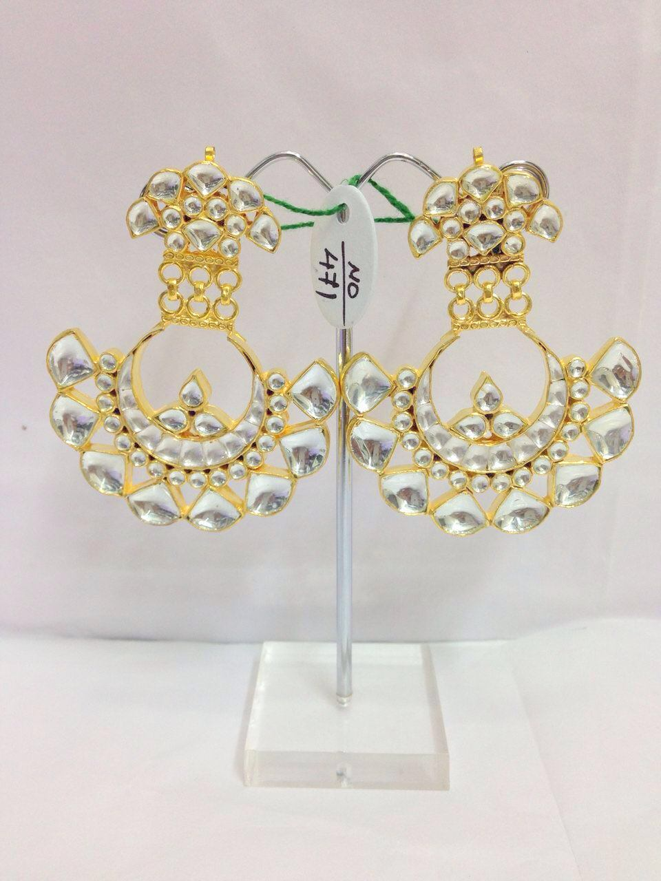 Kundan And Gold Plated Earrings Pair