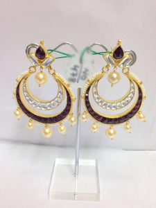Colorful Rhodolite Chandbali Look Earrings Pair