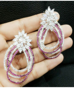 Colorful Ruby And Diamond Earrings Pair
