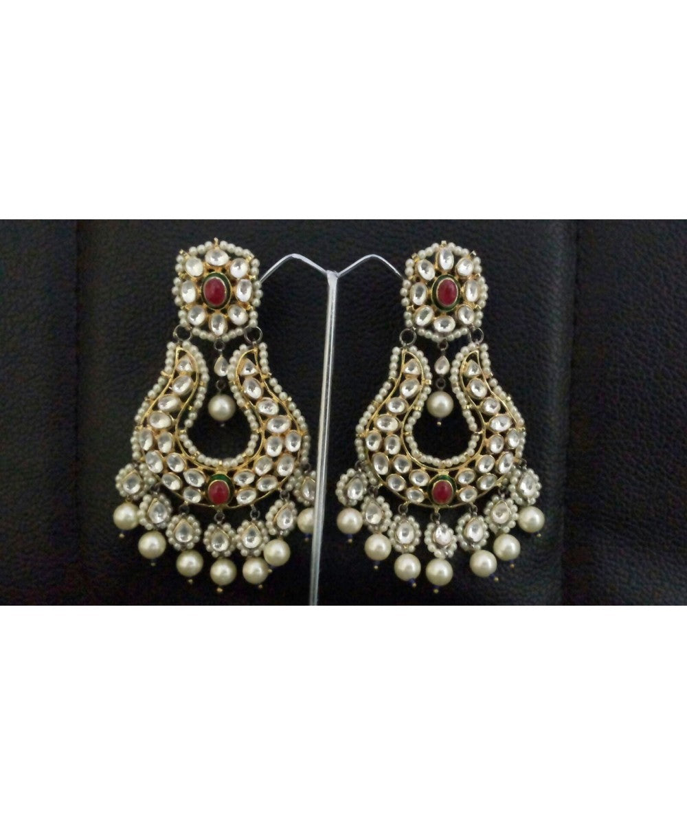 Colorful Ruby And Pearls Earrings Pair