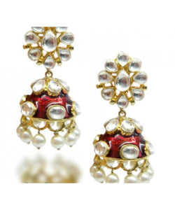 Beautiful Red Meenakari Earrings