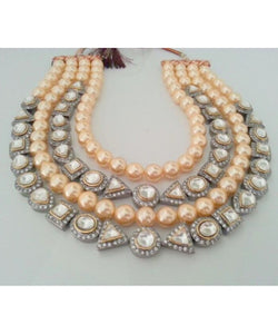 Victorian Golden Pearls Necklace Set With Matching Earrings