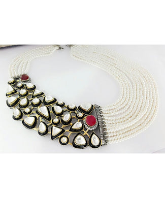 Beautiful Black Meenakari Pearls and Ruby Necklace