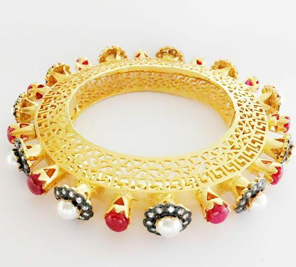 Gold Plated Filigree Work Victorian Style Ruby Bracelet