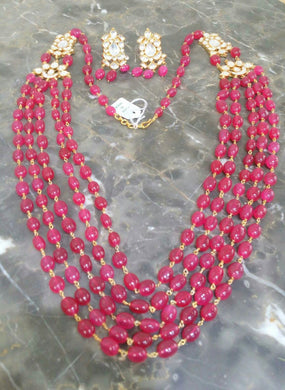 Royal Ruby Kundan Necklace Set