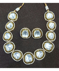Big Polki Necklace Set With Matching Earrings