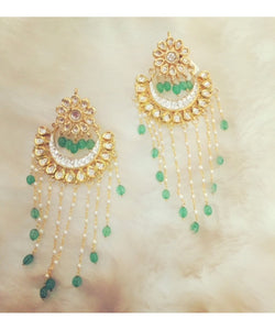 Emerald Drops Chandbali Earrings Pair