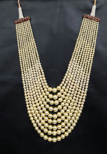 Classic Beaded Golden Pearls Necklace