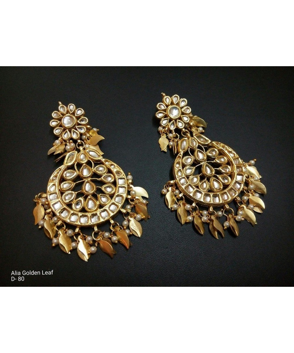 Beautiful Gold Plated Leaf Work Earrings Pair