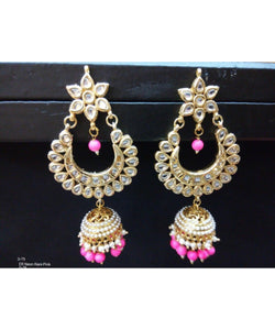 Colored Pearls Kundan Chandbali Earrings