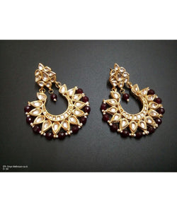 Gold Plated Kundan Earrings Pair