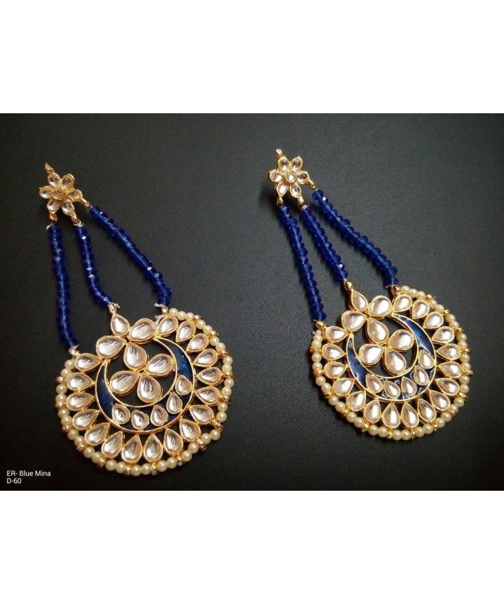Traditional Earrings With Blue Meenakari Work