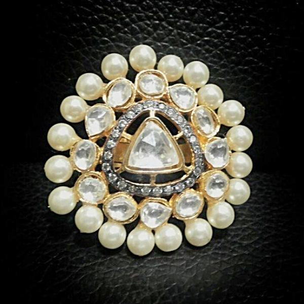 Gold Plated Pearls Ring