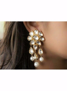 Designer Kundan Earrings Pair With Hanging Pearls