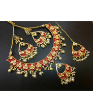 Traditional Jaipur Kundan Meenakari Necklace With Matching Earrings