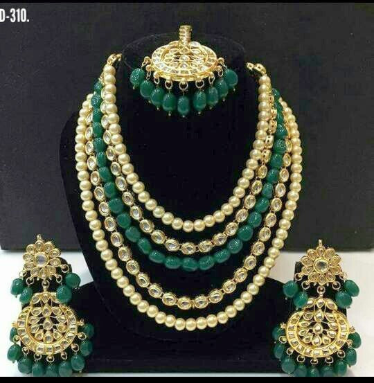 Kundan and Pearls Bridal Necklace Set with Maang Tikka