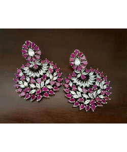 Dazzling Diamond Look Colorful Earrings