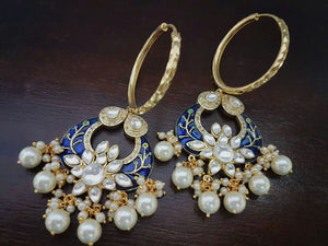 Kundan And Meenakari Work Earrings Pair
