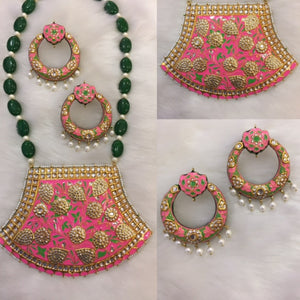 Classy Pink Meenakari Emeralds And Pearls Necklace With Matching Earrings