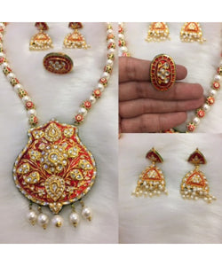 Elegant Red Meenakari Necklace With Matching Earrings And Maangtikka