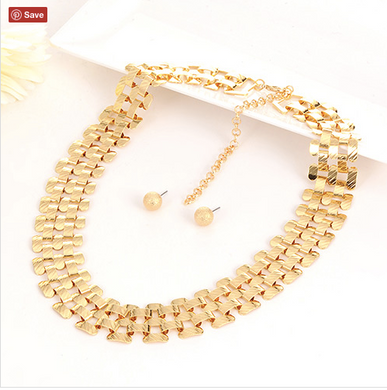 Designer Italian Gold Necklace With Matching Earrings