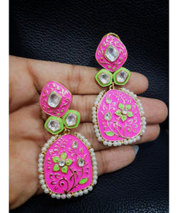 Jaipuri Meenakari Work Colorful Earrings Pair