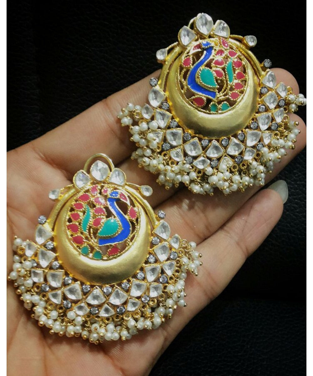 Peacock Design Kundan And Pearls Earrings Pair