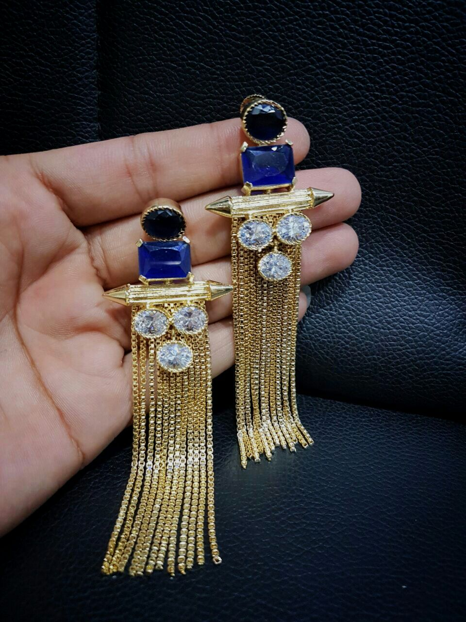 Tanzanite look Designer Danglers