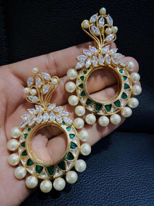 Kundan And Pearls Meenakari Earrings Pair