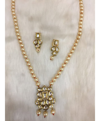 Traditional Pearls And Kundan Necklace With Matching Earrings