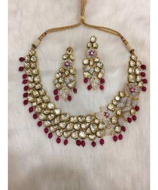 Classic Kundan Ruby Diamond Bridal Necklace With Matching Earrings