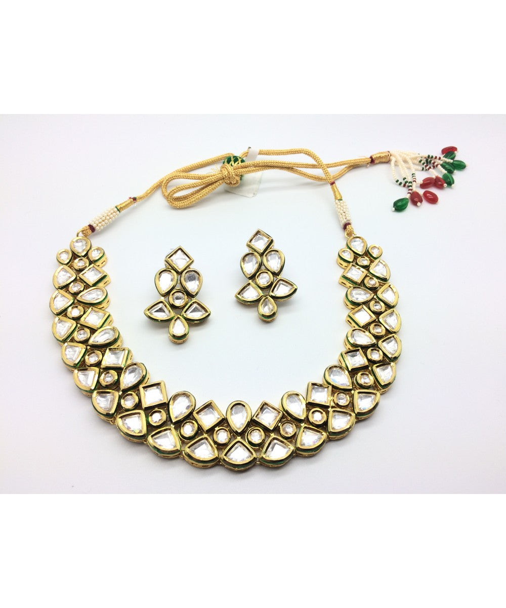 Bridal Kundan Necklace With Matching Earrings