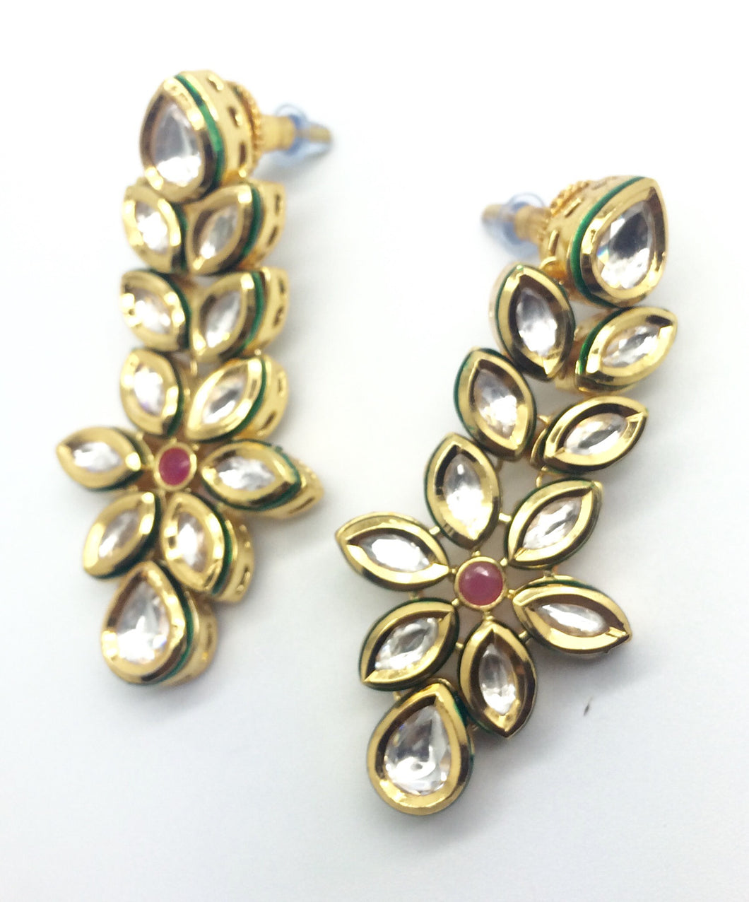 Bridal Kundan Ruby And Emeralds Earrings Pair