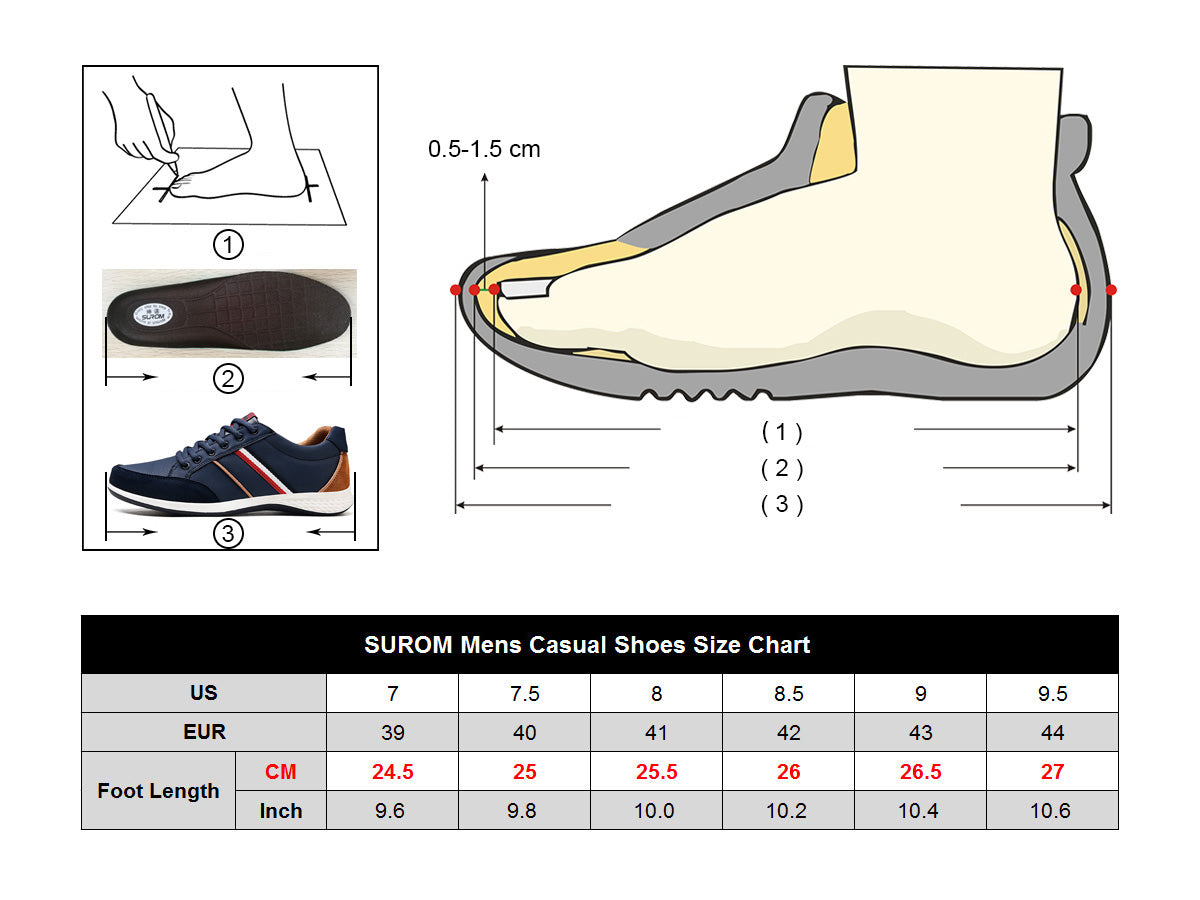 British Style lace ups sizing chart