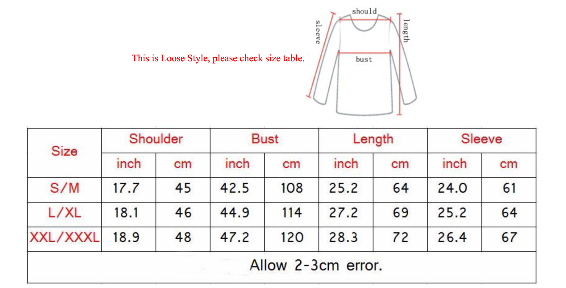 Sizing Chart for Milk Hoodie