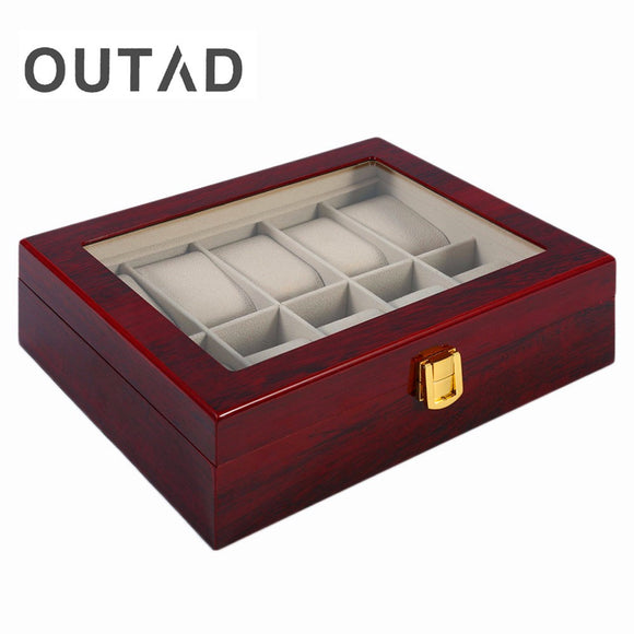 Luxury Glass Top 6 Watch Wooden Display Case Box