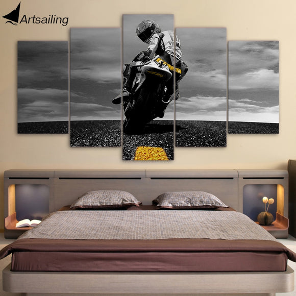 Vintage Wall Decor – 5 Piece Canvas with Motorcycle Design