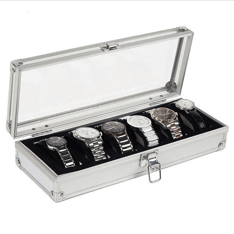 Aluminium Watch Display Box 6 Slot