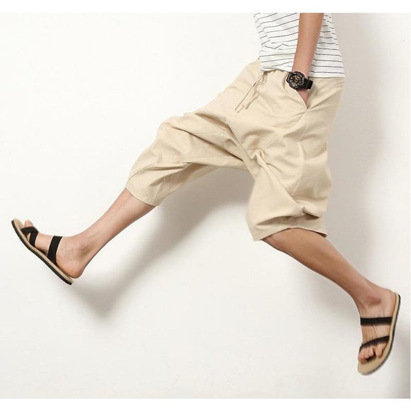 Men's Cotton Mid Waist Loose Harem Shorts