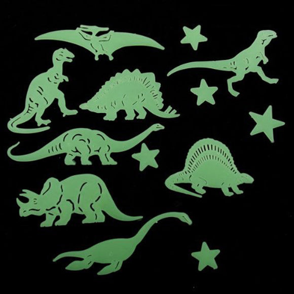 13 PCS Glow In The Dark Dinosaur Stickers!