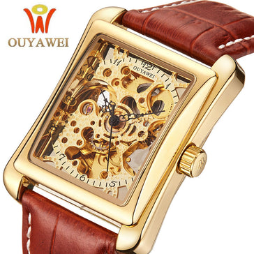 OUYAWEI Distinct Japanese Mechanical Skeleton Watch