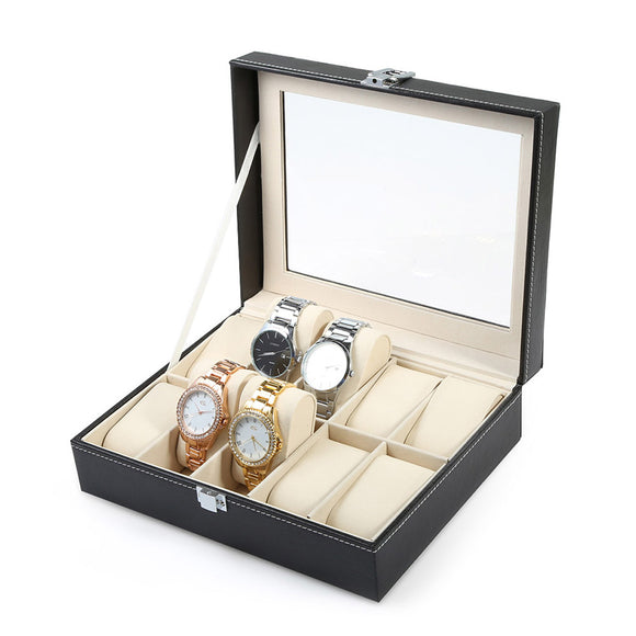 Professional 10 Grid Watch Luxury PU leather Box