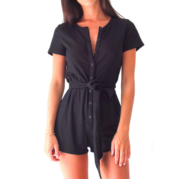 Front Button Fitted Bach Babe Playsuit