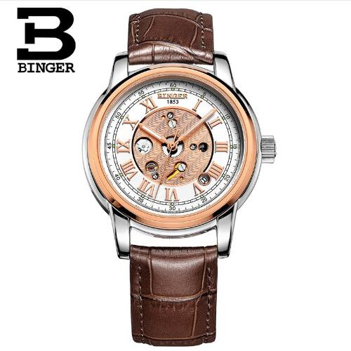 Binger Swiss Mechanical Skeleton Watch Bachelor Barn